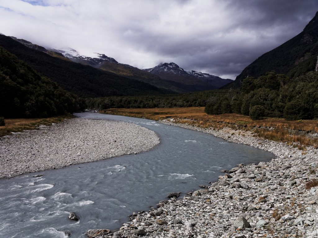 Dart river dans le parc national de Mount Aspiring