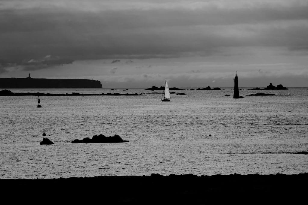 Baie de Sain-Malo en noir et blanc
