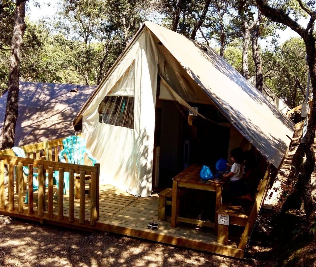cabane toilée au camping de la presqu'île de Giens