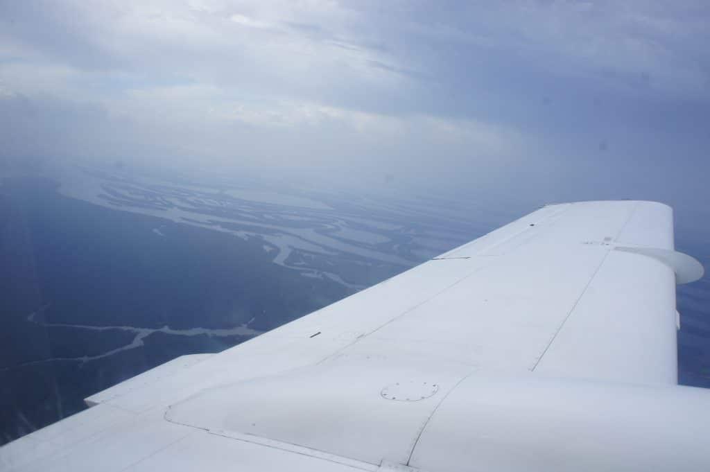 Vue des méandres du Rio Negro depuis l'avion