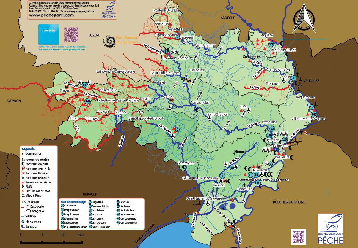 Carte des rivières et lacs gardois