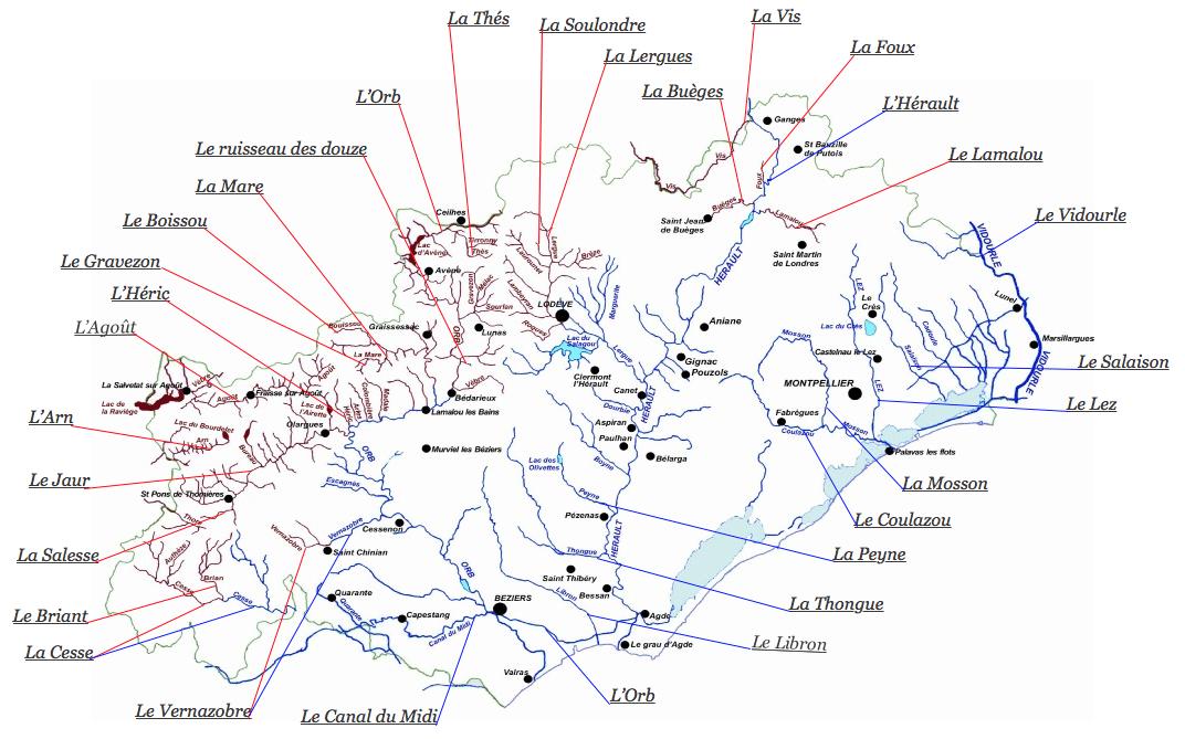 Carte des rivières de l'Hérault
