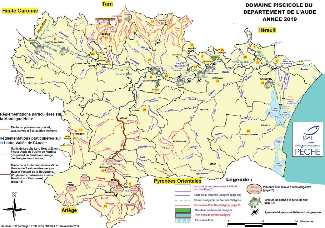 Carte des rivières de l'Aude