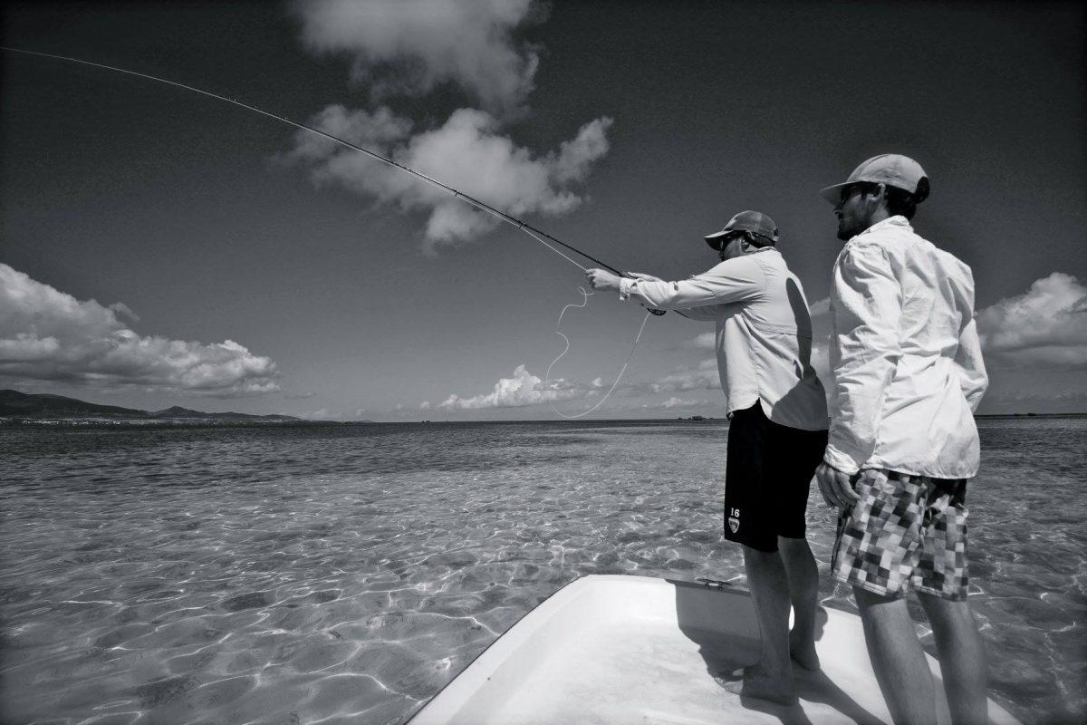Pêche à la mouche sur un flat en Guadeloupe