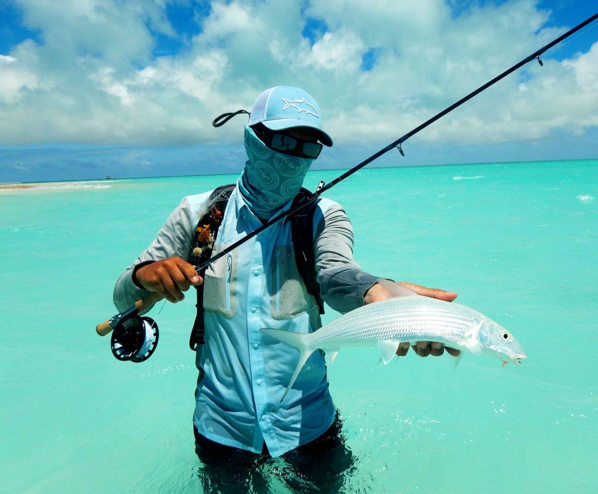 Pêche du bonefish à la mouche sur les îles Kiribati